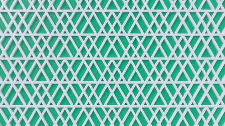 motif : Arabesque looping geometric pattern. Green and white islamic 3d motif. Arabic oriental animated background. Muslim moving wallpaper. Asian ornament with triangles. Ethnic design element decoration. Stock Footage