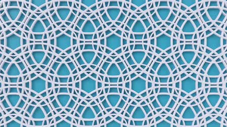 concêntrico : Arabesque looping geometric pattern. Blue and white islamic 3d motif. Arabic oriental animated background. Muslim moving wallpaper. Asian ornament with circles. Ethnic design element decoration.