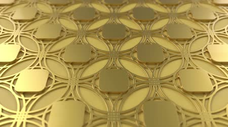 motívum : Arabesque looping geometric pattern. Gold islamic 3d motif. Arabic oriental animated background. Muslim moving wallpaper. Asian ornament with circles. Ethnic design element decoration.