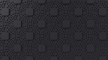 fayans : Arabesque looping geometric pattern. Black islamic 3d motif. Arabic oriental animated background. Muslim moving wallpaper. Asian ornament with circles. Ethnic design element decoration.
