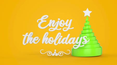 happy holidays : Merry Christmas and Happy New Year greeting lettering. Winter holiday motion graphic. Decorative animated inscription, christmas green spiral abstract tree with star on yellow background. 3d render Stock Footage