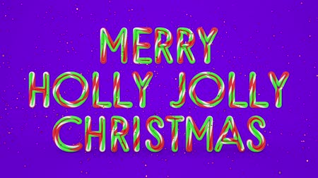 падуб : Merry Christmas and Happy New Year greeting lettering. Winter holiday motion graphic. Decorative animated inscription on violet background. Typographic festive design element. 3d render