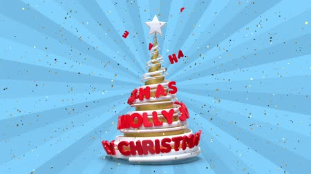 каллиграфия : Merry Christmas and Happy New Year greeting animation. Looping xmas background. Abstract spiral christmas tree with animated lettering. Blue and gold, red motion graphic. 3d render illustration. Стоковые видеозаписи
