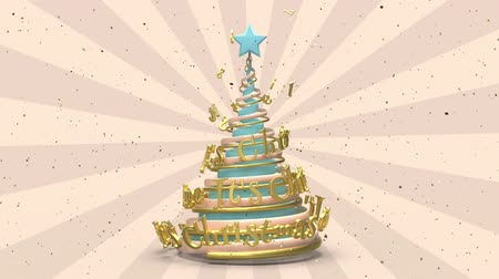 stuha : Merry Christmas and Happy New Year greeting animation. Looping xmas background. Abstract spiral christmas tree with animated lettering. Blue and gold motion graphic. 3d render illustration.