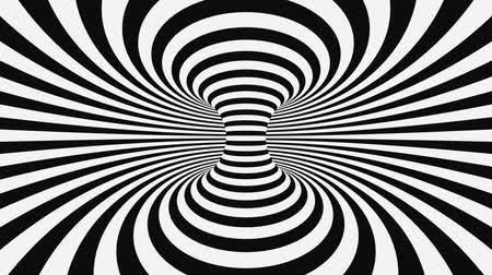 concêntrico : Black and white psychedelic optical illusion. Abstract hypnotic animated background. Spiral geometric looping monochrome wallpaper. Surreal modern dynamic backdrop. 3D seamless full HD animation
