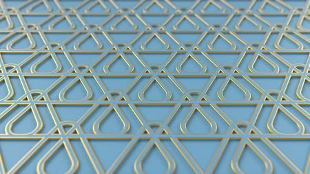 motívum : Arabesque looping geometric pattern. Blue and gold islamic 3d motif. Arabic oriental animated background. Muslim moving wallpaper. Asian ornament with triangles. Ethnic design element decoration. Stock mozgókép