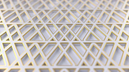 arabesk : Arabesque looping geometric pattern. White and gold islamic 3d motif. Arabic oriental animated background. Muslim moving wallpaper. Asian ornament with triangles. Ethnic design element decoration.