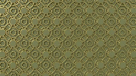 motívum : Arabesque looping geometric pattern. Gold and olive islamic 3d motif. Arabic oriental animated background. Muslim moving wallpaper. Asian ornament with circles. Ethnic design element decoration.