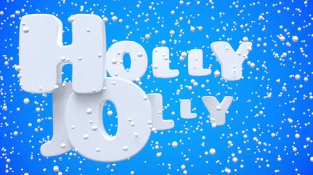 calligraphic : Merry Christmas and Happy New Year motion blue background. Animated festive white lettering. Greeting card, banner, wallpaper. Flying snowflakes, dynamic text. 3d render animation. Stock Footage