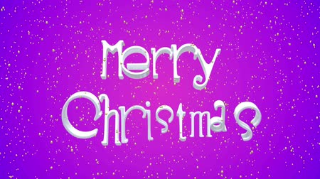 caligráfico : Merry Christmas and Happy New Year motion violet background. Animated festive white lettering. Greeting card, banner, wallpaper. Flying snowflakes, dynamic text. 3d render animation.