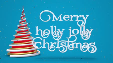 падуб : Merry Christmas and Happy New Year greeting lettering. Winter holiday motion graphic. Decorative animated inscription, christmas red and gold spiral abstract tree on blue background. 3d render Стоковые видеозаписи