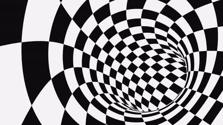 šachy : Black and white psychedelic optical illusion. Abstract hypnotic animated background. Checkered geometric looping monochrome wallpaper. Chess modern dynamic backdrop. 3D seamless full HD animation