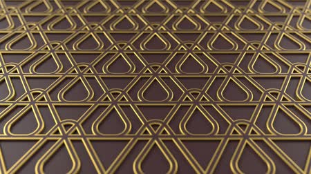 motívum : Arabesque looping geometric pattern. Brown and gold islamic 3d motif. Arabic oriental animated background. Muslim moving wallpaper. Asian ornament with triangles. Ethnic design element decoration. Stock mozgókép