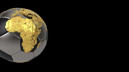 continent : Realistic soccer ball isolated on black screen. 3d seamless looping animation. Detailed gold world map on black and iron soccer ball. Concept football earth globe. Sport design element.