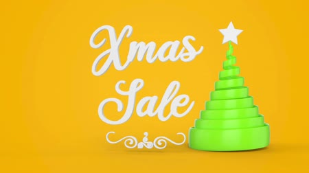 nyomdai : Christmas sale lettering, discount banner. Winter holiday sale. Decorative animated inscription, promotional background. Typographic festive design element. 3d render, motion graphic