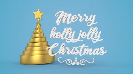 падуб : Merry Christmas and Happy New Year greeting lettering. Winter holiday motion graphic. Decorative animated inscription, christmas gold spiral abstract tree with star on blue background. 3d render