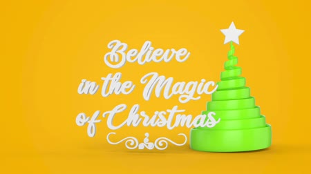 acreditar : Merry Christmas and Happy New Year greeting lettering. Winter holiday motion graphic. Decorative animated inscription, christmas green spiral abstract tree with star on yellow background. 3d render Vídeos