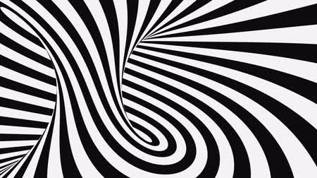 girdaplar : Black and white psychedelic optical illusion. Abstract hypnotic animated background. Spiral geometric looping monochrome wallpaper. Surreal modern dynamic backdrop. 3D seamless full HD animation