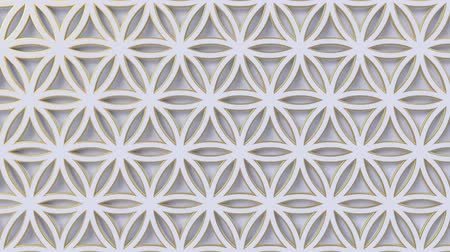 motif : Arabesque looping geometric pattern. Gold and white islamic 3d motif. Arabic oriental animated background. Muslim moving wallpaper. Asian ornament with circles. Ethnic design element decoration. Stock Footage