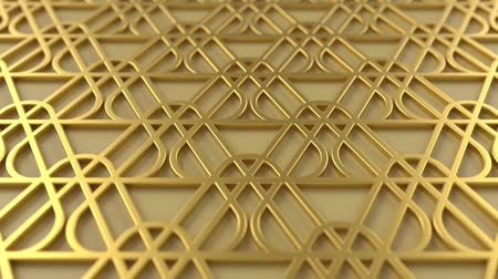 motif : Arabesque looping geometric pattern. Gold islamic 3d motif. Arabic oriental animated background. Muslim moving wallpaper. Asian ornament with triangles. Ethnic design element decoration.