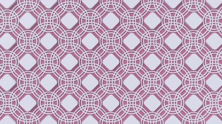 ottomaans : Arabesque looping geometric pattern. Pink and white islamic 3d motif. Arabic oriental animated background. Muslim moving wallpaper. Asian ornament with circles. Ethnic design element decoration. Stockvideo