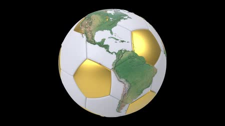 futebol : Realistic soccer ball isolated on black screen. 3d seamless looping animation. Detailed world map on white and gold soccer ball. Concept football earth globe. Sport design element. Vídeos