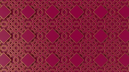 fas : Arabesque looping geometric pattern. Gold and red islamic 3d motif. Arabic oriental animated background. Muslim moving wallpaper. Asian ornament with squares. Ethnic design element decoration.