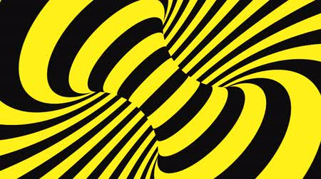 opção : Black and yellow psychedelic optical illusion. Abstract hypnotic animated background. Spiral geometric looping warning wallpaper. Surreal modern safety dynamic backdrop. 3D seamless full HD animation