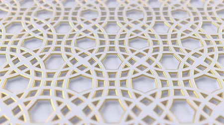 motívum : Arabesque looping geometric pattern. Gold and white islamic 3d motif. Arabic oriental animated background. Muslim moving wallpaper. Asian ornament with circles. Ethnic design element decoration. Stock mozgókép