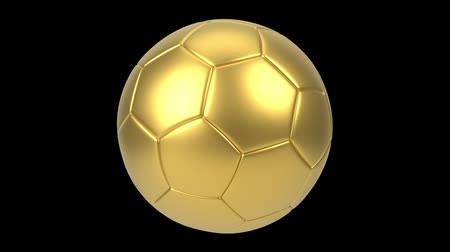 world cup : Realistic gold soccer ball isolated on black background. 3d looping animation. Football design element. Stock Footage