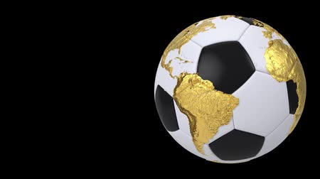 world cup : Realistic soccer ball isolated on black screen. 3d seamless looping animation. Detailed gold world map on black and white soccer ball. Concept football earth globe. Sport design element. Stock Footage