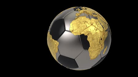 world cup : Realistic soccer ball isolated on black screen. 3d seamless looping animation. Detailed gold world map on black and iron soccer ball. Concept football earth globe. Sport design element.