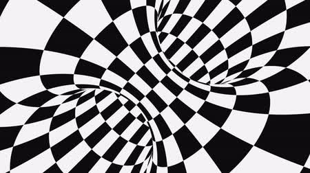 gat in muur : Black and white psychedelic optical illusion. Abstract hypnotic animated background. Checkered geometric looping monochrome wallpaper. Chess modern dynamic backdrop. 3D seamless full HD animation