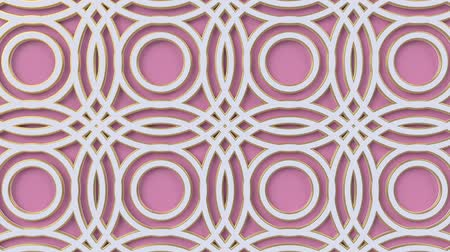 concêntrico : Arabesque looping geometric pattern. Pink and white islamic 3d motif. Arabic oriental animated background. Muslim moving wallpaper. Asian ornament with circles. Ethnic design element decoration. Vídeos