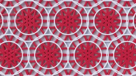 ottomaans : Arabesque looping geometric pattern. Red and white islamic 3d motif. Arabic oriental animated background. Muslim moving wallpaper. Asian ornament with circles. Ethnic design element decoration.