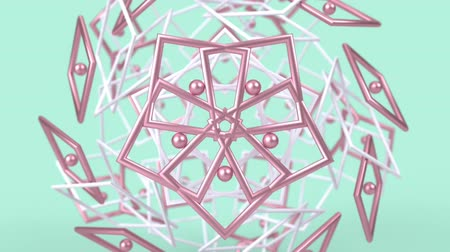 arabeska : Kaleidoscopic geometric pattern, arabic mandala, mosaic looping muslim background. Abstract indian ornament, 3d render animation graphics. Moving metallic shapes.