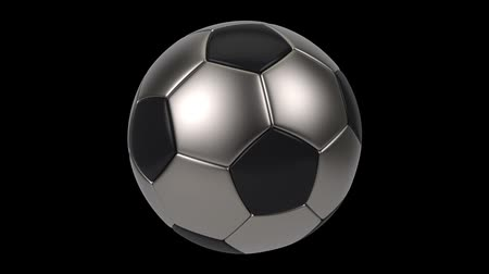 world cup : Realistic black and iron soccer ball isolated on black background. 3d looping animation. Football design element.