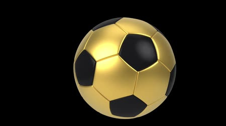 world cup : Realistic black and gold soccer ball isolated on black background. 3d looping animation. Football design element. Stock Footage