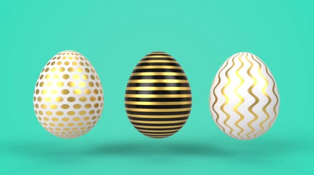 bounce : Happy Easter holiday background. Colorful eggs 3d render animation in minimal style. Jumping and leaping decotative eggs.