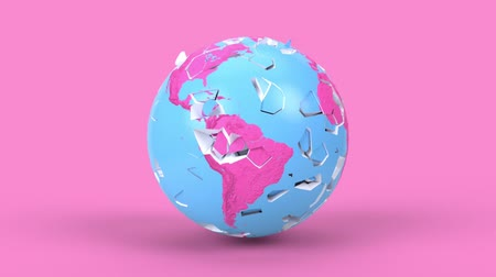 Rotating earth globe in minimal style. Shattered Earth planet on background, 3d render animation. Apocalypse, catastrophe concept. America, europe, africa, australia continents.