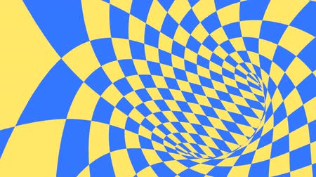 алмаз : Blue and yellow psychedelic optical illusion. Abstract hypnotic diamond animated background. Geometric looping wallpaper with rhombus shapes. Surreal dynamic backdrop. 3D seamless full HD animation Стоковые видеозаписи