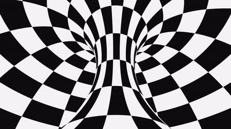 pléd : Black and white psychedelic optical illusion. Abstract hypnotic animated background. Checkered geometric looping monochrome wallpaper. Chess modern dynamic backdrop. 3D seamless full HD animation
