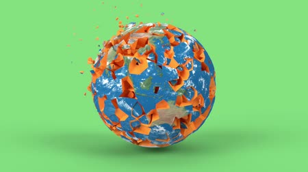 bolygók : Rotating earth globe in minimal style. Shattered Earth planet on background, 3d render animation. Apocalypse, catastrophe concept. America, europe, africa, australia continents.