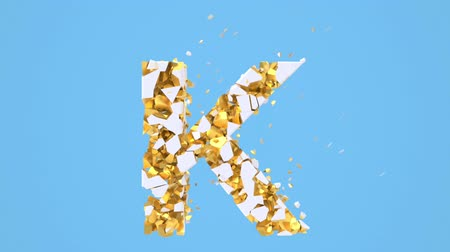 フラグメント : Broken white font isolated on blue background with golden fragments. Shattered bold capital letters. Destruction effect, 3d render animation. Typographic design element.