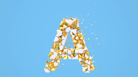 typographie : Broken white font isolated on blue background with golden fragments. Shattered bold capital letters. Destruction effect, 3d render animation. Typographic design element.