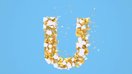 abeceda : Broken white font isolated on blue background with golden fragments. Shattered bold capital letters. Destruction effect, 3d render animation. Typographic design element.