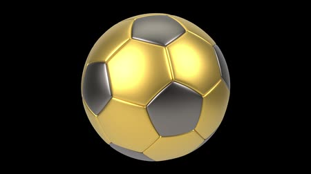 world cup : Realistic gold and iron soccer ball isolated on black background. 3d looping animation. Football design element. Stock Footage