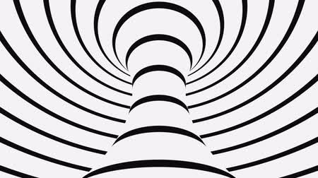 yanılsama : Black and white psychedelic optical illusion. Abstract hypnotic animated background. Spiral geometric looping monochrome wallpaper. Surreal modern dynamic backdrop. 3D seamless full HD animation