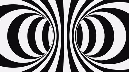 оптический : Black and white psychedelic optical illusion. Abstract hypnotic animated background. Spiral geometric looping monochrome wallpaper. Surreal modern dynamic backdrop. 3D seamless full HD animation