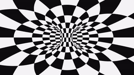 оптический : Black and white psychedelic optical illusion. Abstract hypnotic animated background. Checkered geometric looping monochrome wallpaper. Chess modern dynamic backdrop. 3D seamless full HD animation